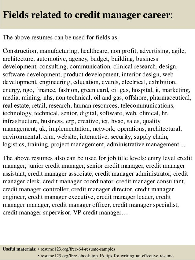 Resume Resume Examples Credit Manager top 8 credit manager resume samples 16 fields related to manager
