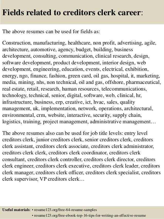 Top 8 creditors clerk resume samples
