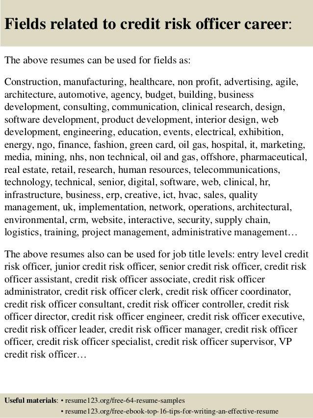 top 8 credit risk officer resume samples