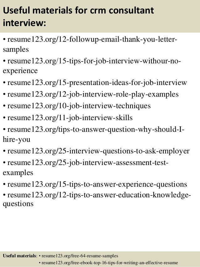 14 useful materials for crm consultant - Crm Consultant Sample Resume