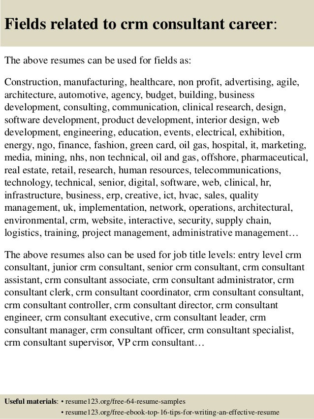 16 fields related to crm consultant - Crm Consultant Sample Resume