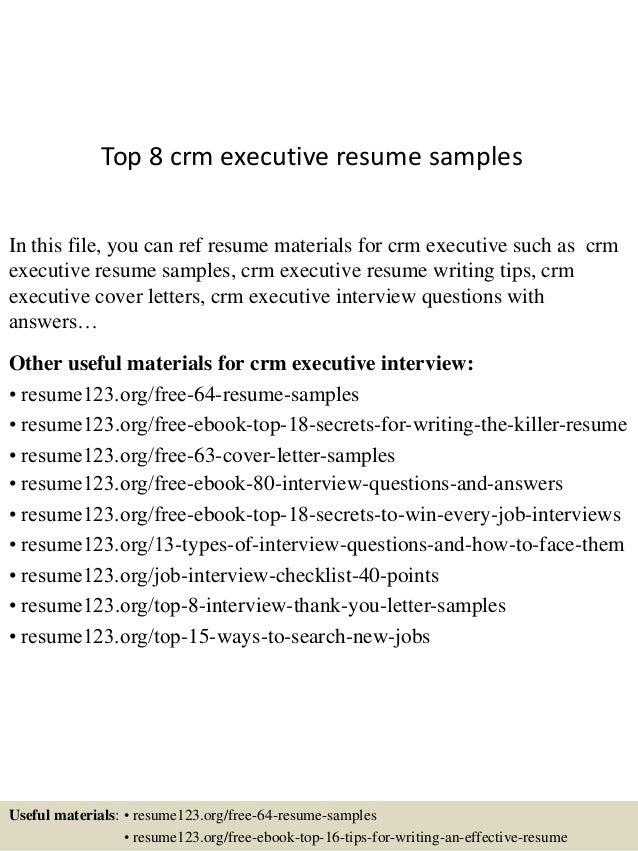 Top 8 Crm Executive Resume Samples