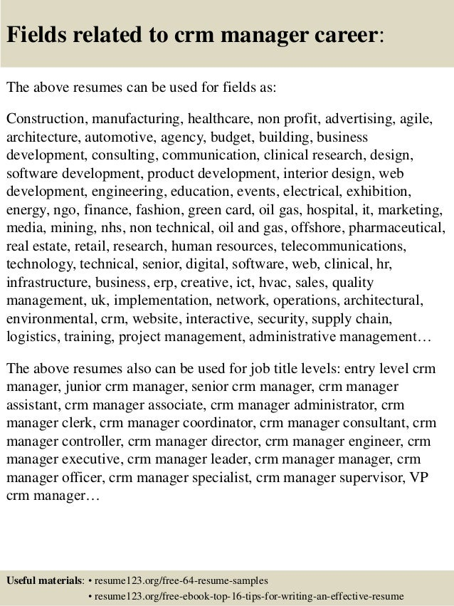 ... 16. Fields Related To Crm Manager ...
