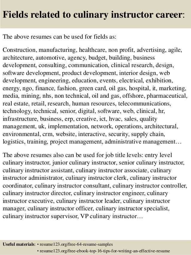 Top 8 Culinary Instructor Resume Samples