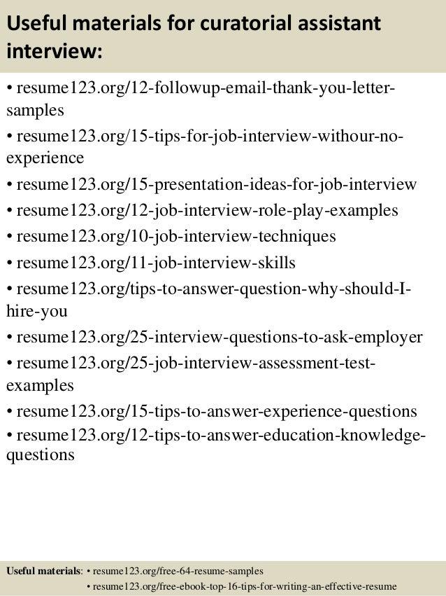Top 8 curatorial assistant resume samples