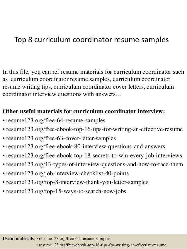 Top 8 Curriculum Coordinator Resume Samples In This File, You Can Ref Resume  Materials For ...  Sample Resume Outline