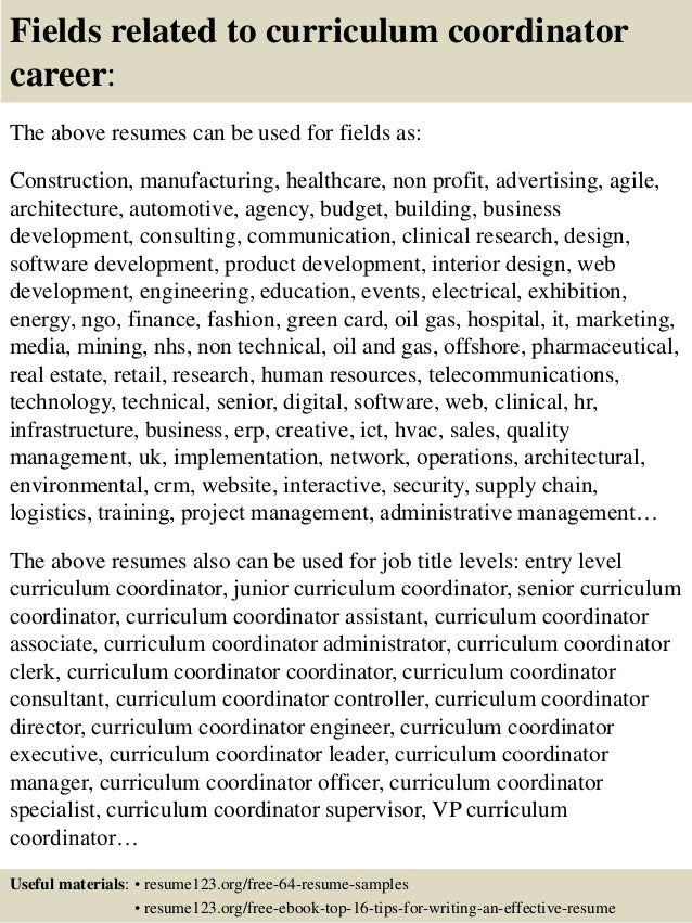 top 8 curriculum coordinator resume samples