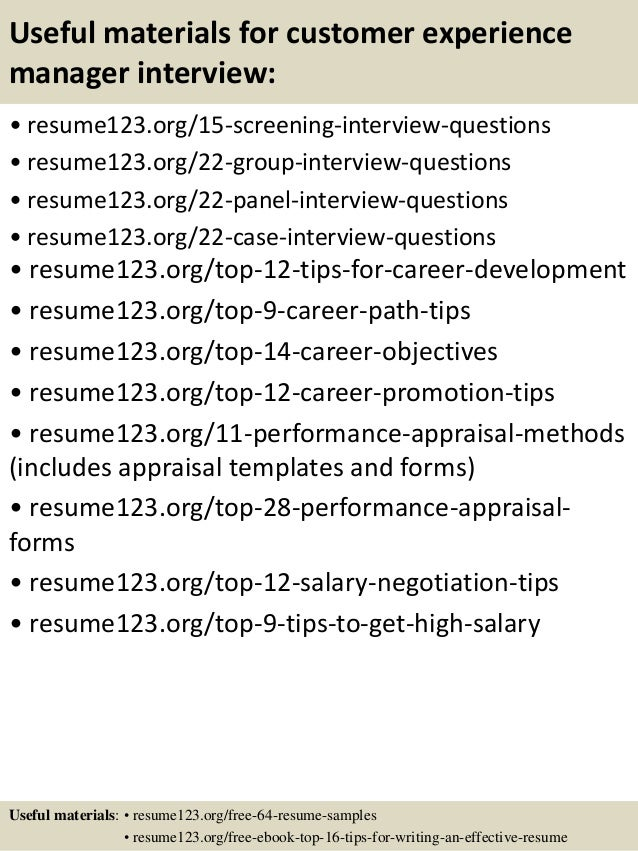 Top 8 Customer Experience Manager Resume Samples