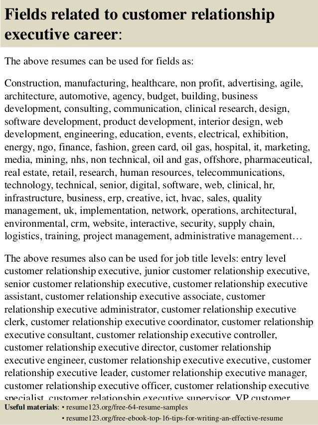 top 8 customer relationship executive resume sles
