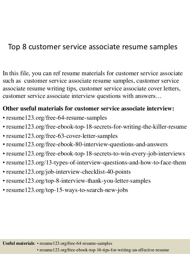 Top 8 Customer Service Associate Resume Samples In This File, You Can Ref  Resume Materials ...