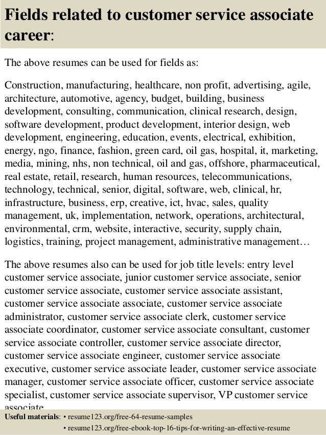16 fields related to customer service - Sample Resume For Customer Service