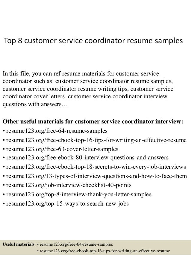 Top 8 Customer Service Coordinator Resume Samples In This File, You Can Ref  Resume Materials ...  Resume Samples For Customer Service