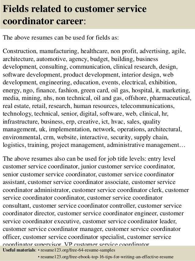 16 fields related to customer service coordinator