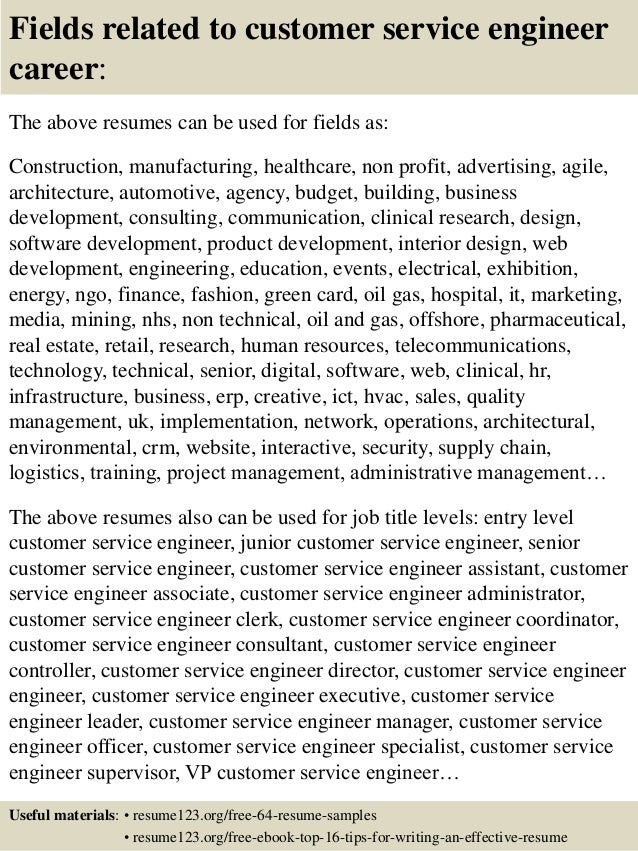 16 fields related to customer service engineer - Customer Service Engineer Sample Resume