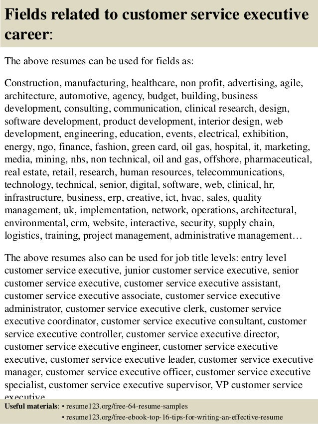 16 fields related to customer service executive - Customer Service Executive Sample Resume