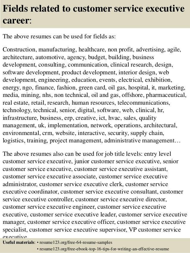 Top 8 Customer Service Executive Resume Samples