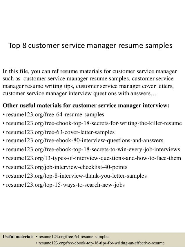 top 8 customer service manager resume samples in this file you can ref resume materials - Sample Customer Service Manager Resume