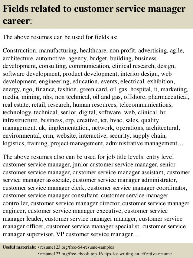 16 fields related to customer service manager - Sample Customer Service Manager Resume