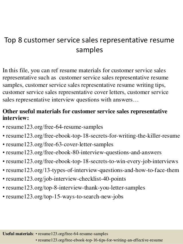 top 8 customer service sales representative resume sles
