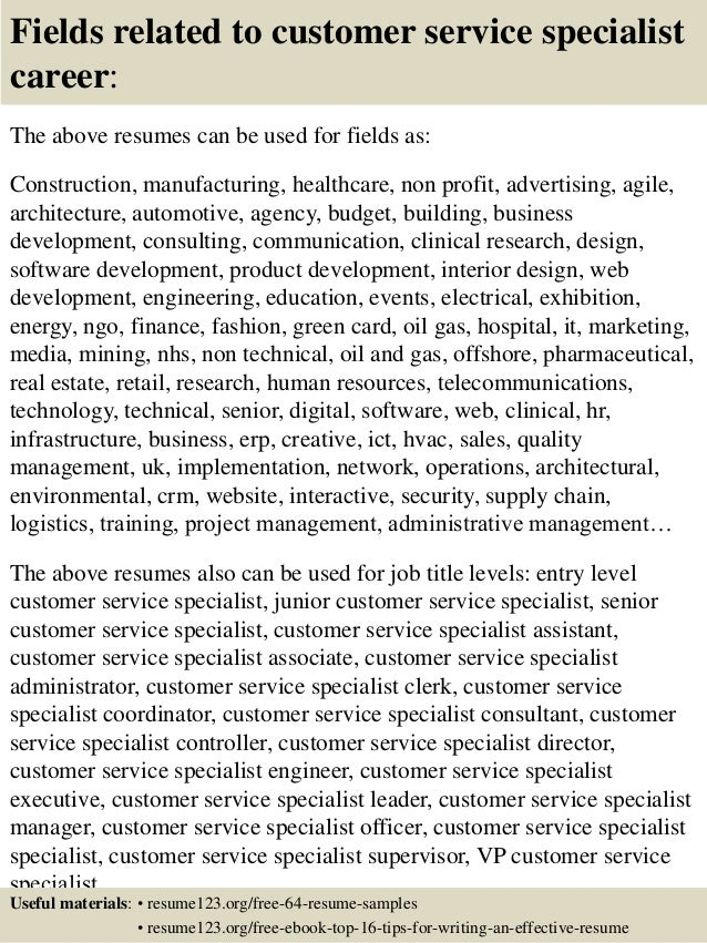 top 8 customer service specialist resume samples