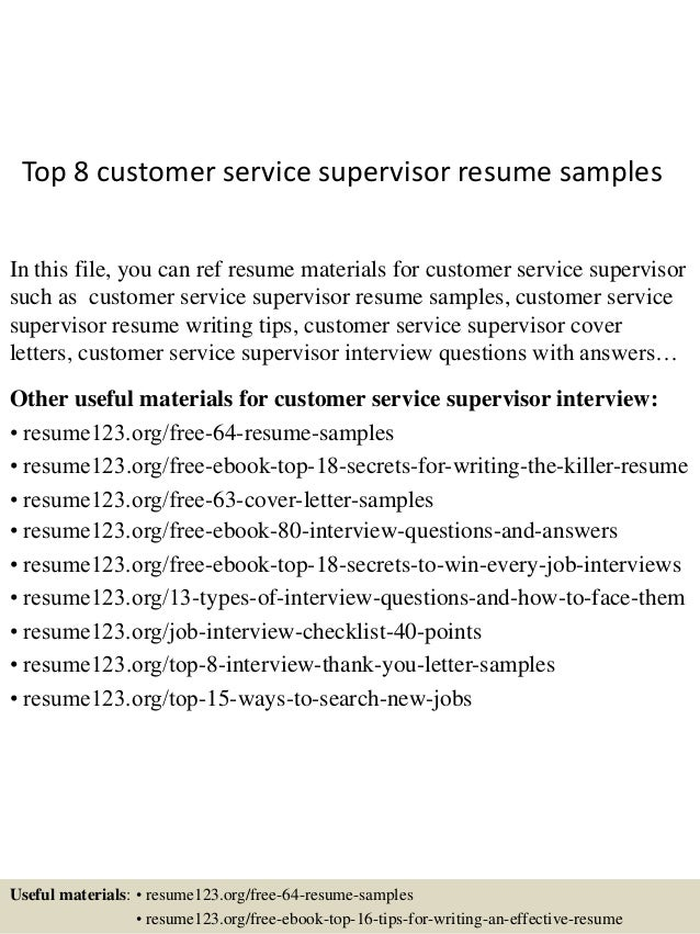 Top 8 Customer Service Supervisor Resume Samples In This File, You Can Ref  Resume Materials ...  Sample Resumes For Customer Service