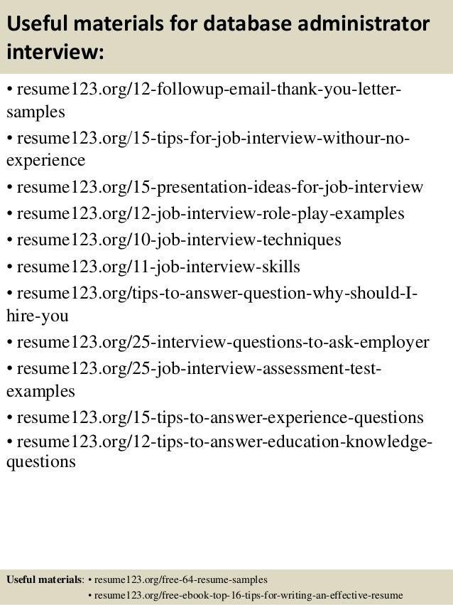 Top  Database Administrator Resume Samples