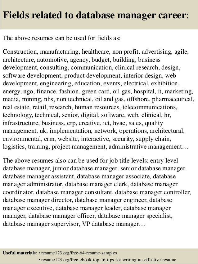 16 fields related to database - Free Resume Database