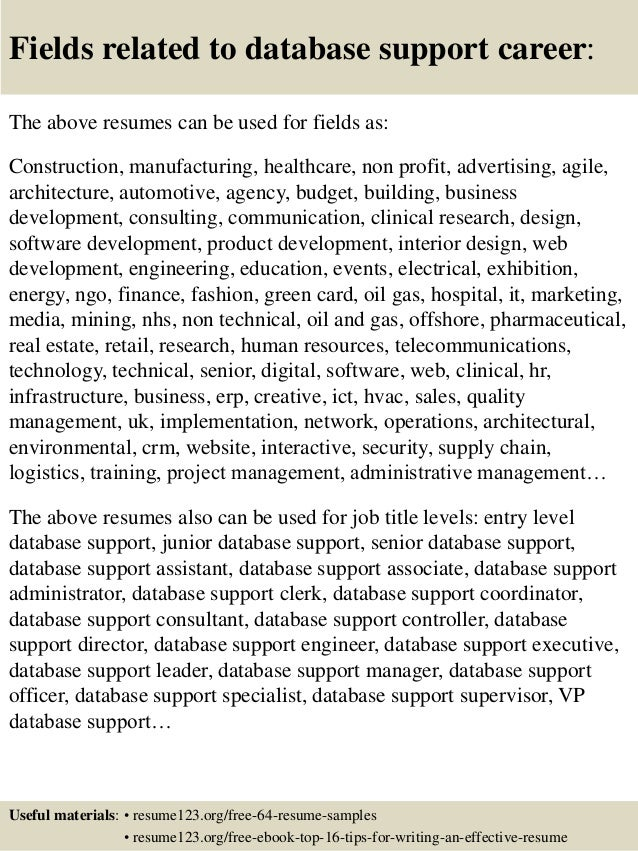 top 8 database support resume samples