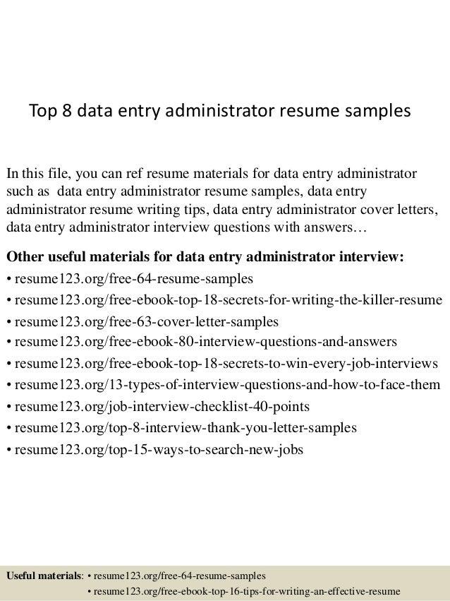 sample data entry resume