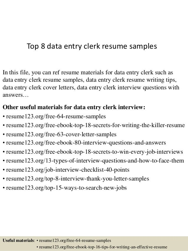 Top 8 Data Entry Clerk Resume Samples In This File, You Can Ref Resume  Materials ...