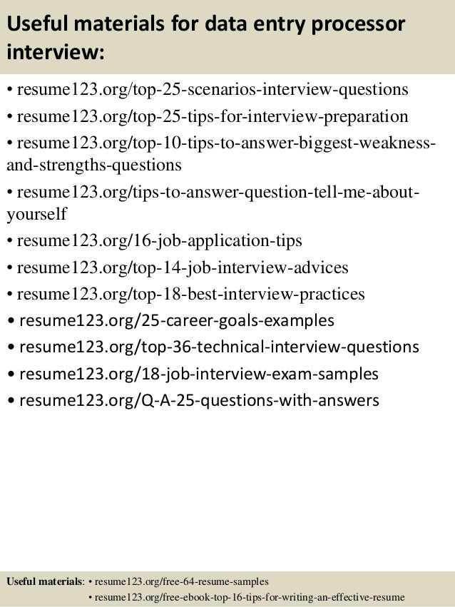 Top 8 Data Entry Processor Resume Samples