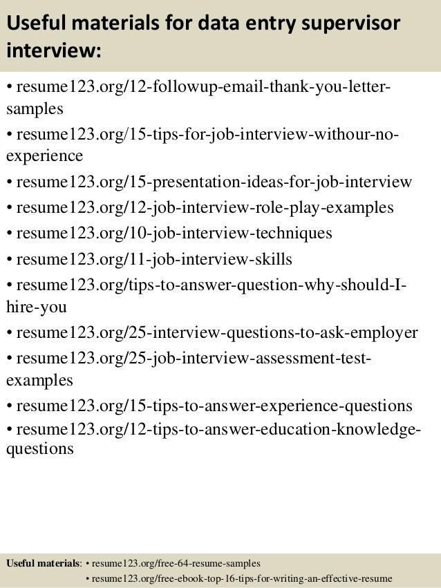 Sample Resume For Data Entry Supervisor - Augustais