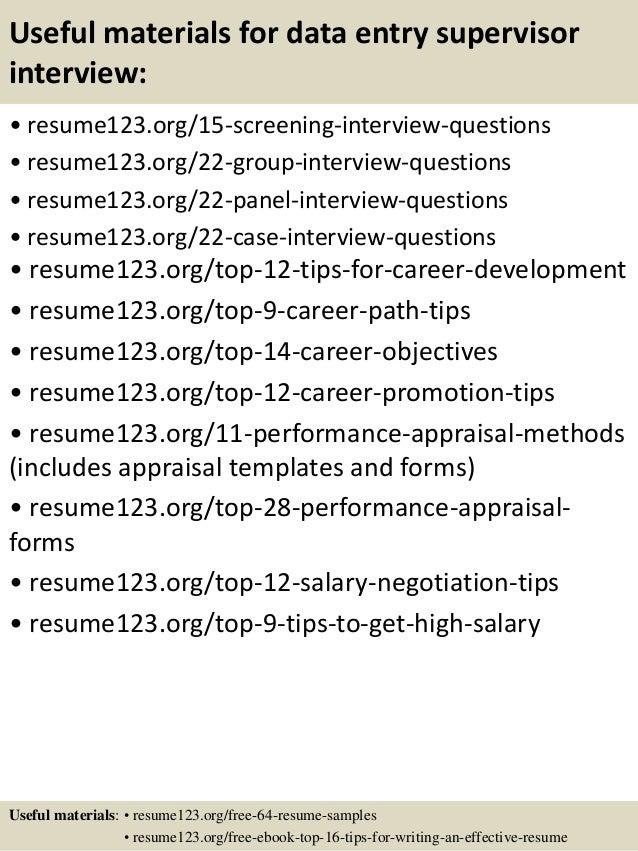 Top 8 data entry supervisor resume samples
