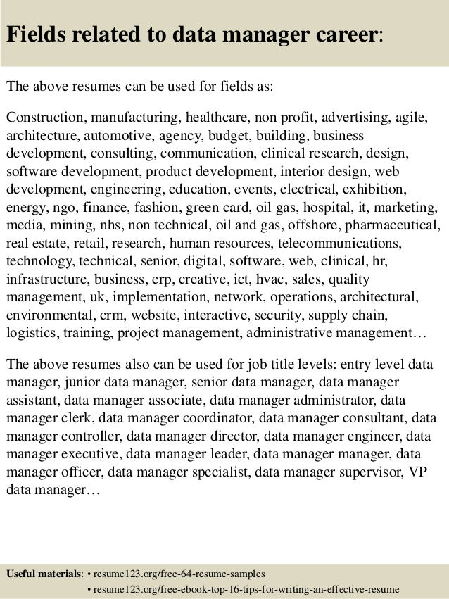Resume Resume Example For Data Manager top 8 data manager resume samples 16 fields related to career the above resumes