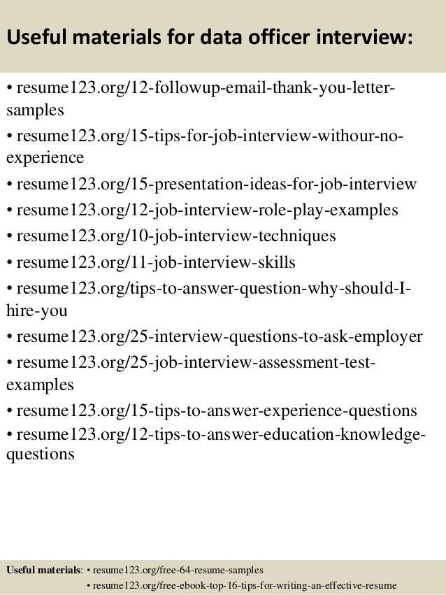 14 useful materials for data officer - Data Officer Sample Resume