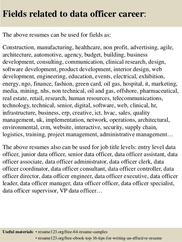 16 fields related to data officer - Data Officer Sample Resume