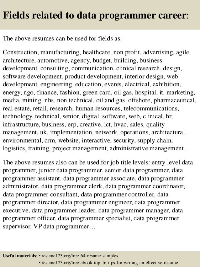 Top 8 Data Programmer Resume Samples