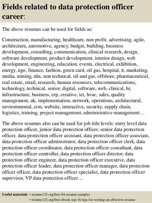 top 8 data protection officer resume samples