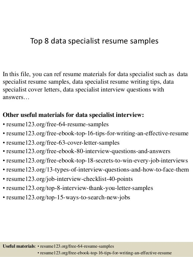 Top 8 Data Specialist Resume Samples In This File, You Can Ref Resume  Materials For ...