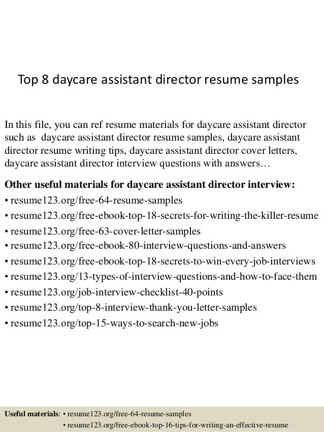 top 8 daycare assistant director resume samples in this file you can ref resume materials. Resume Example. Resume CV Cover Letter
