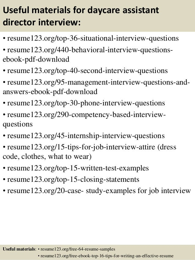 ... 12. Useful Materials For Daycare Assistant Director ...  Daycare Director Resume