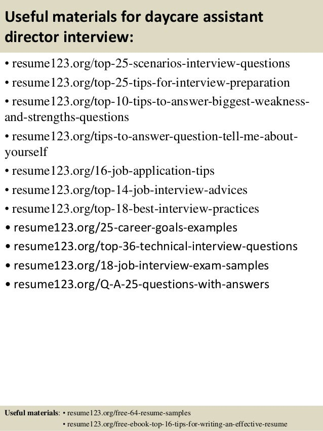 ... 13. Useful Materials For Daycare Assistant Director ...  Assistant Director Resume