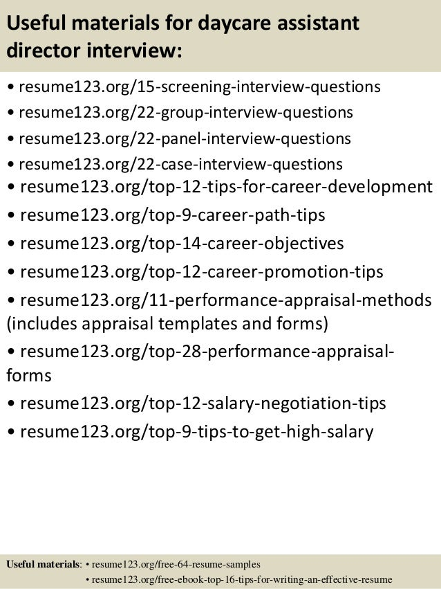 ... 15. Useful Materials For Daycare Assistant Director ...  Daycare Director Resume