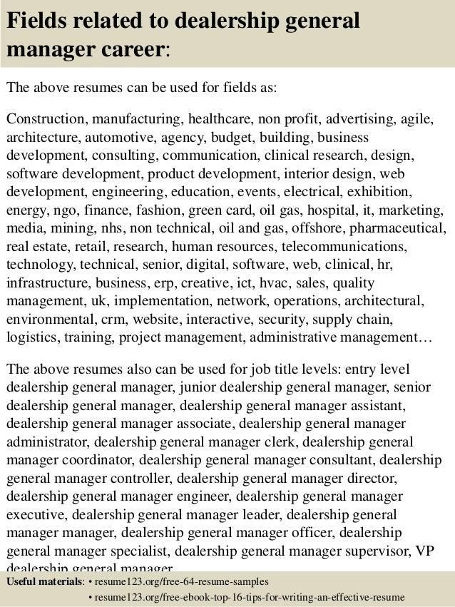 Top 8 dealership general manager resume samples