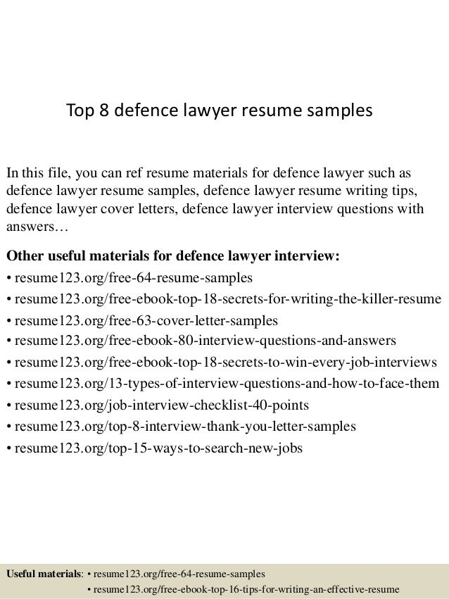 Top 8 defence lawyer resume samples