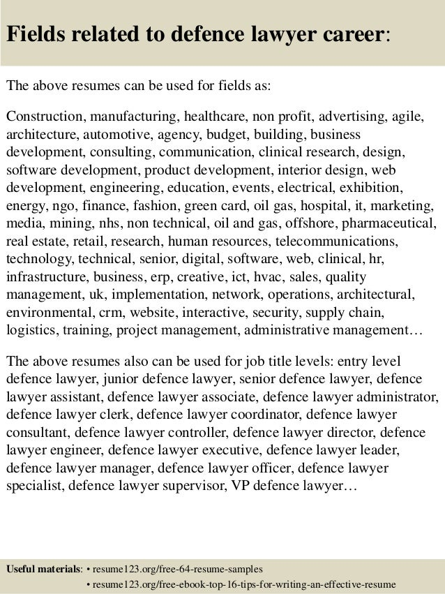 16 fields related to defence - Defence Engineer Sample Resume