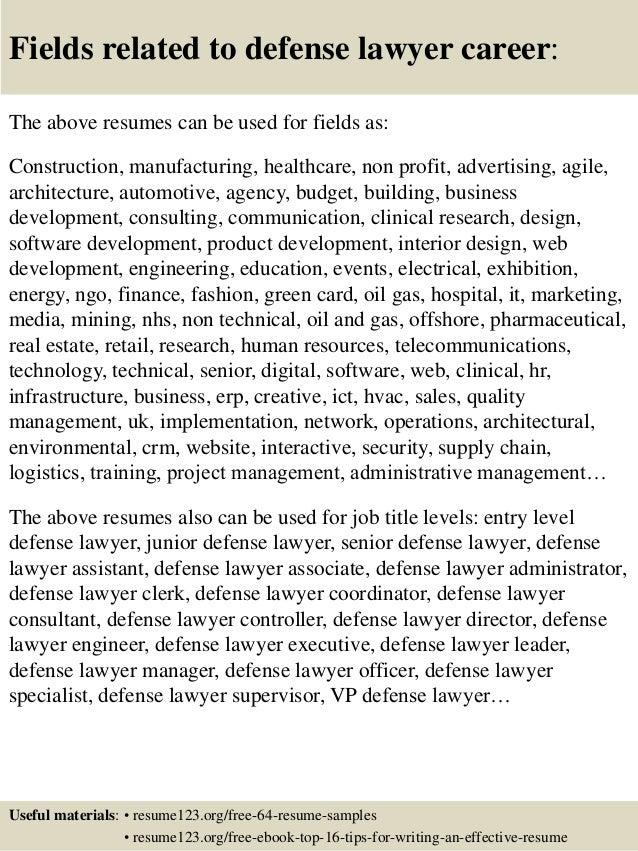 16 fields related to defense lawyer career the above resumes