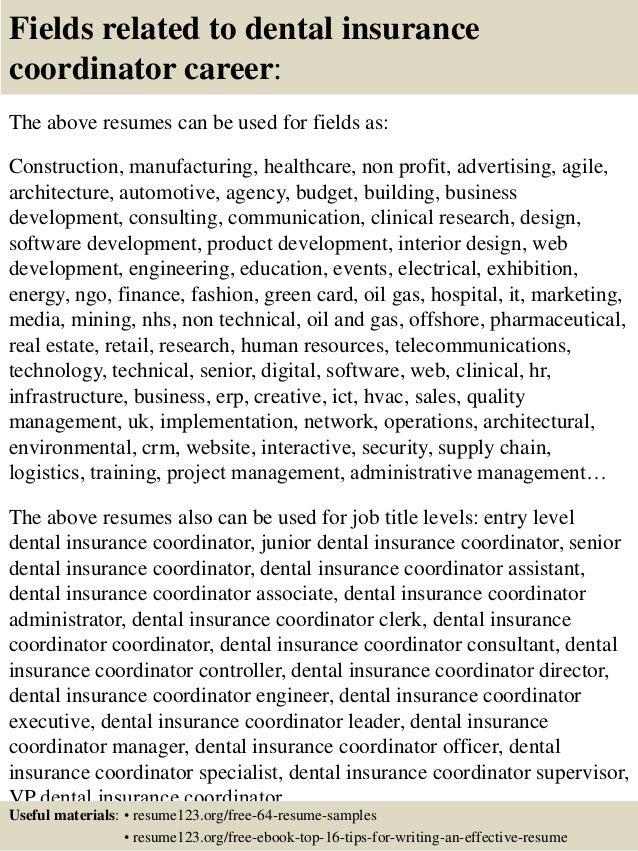Top 8 dental insurance coordinator resume samples