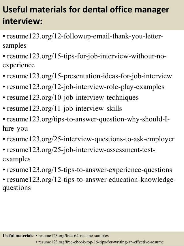 14 useful materials for dental office manager dental manager resume
