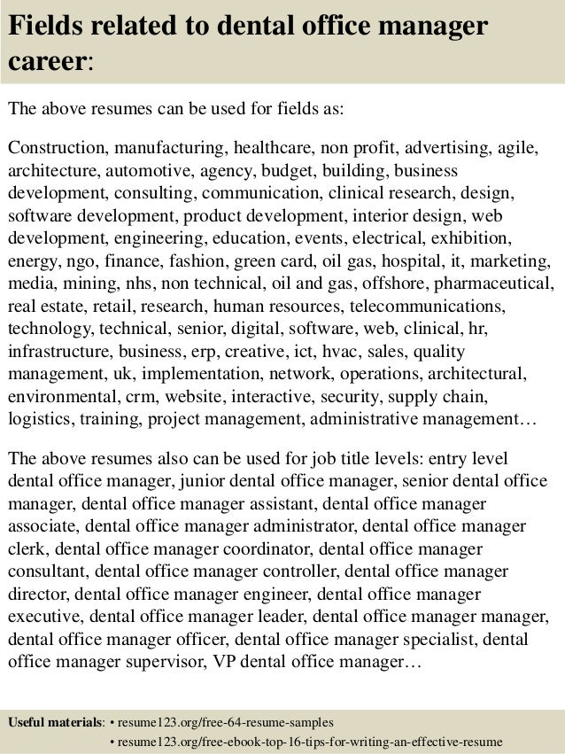 Top 8 dental office manager resume samples – Office Manager Resume Sample
